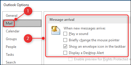 The Message arrival settings in the Options panel.