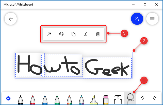 Some handwritten text and the context menu displayed from the Lasso tool.