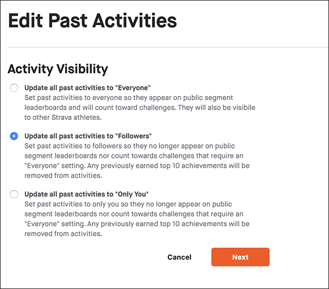 The Activity Visibility menu.