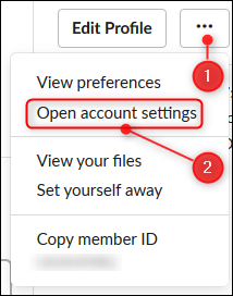 The Open account settings option