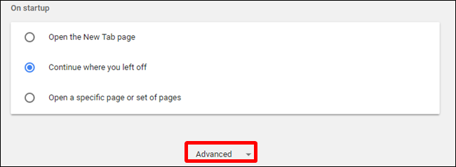 Under Settings, click advanced, located at the bottom of the page