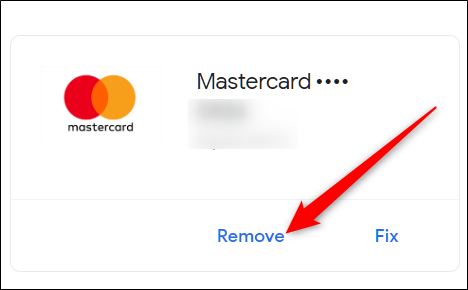 Under the credit card you want to delete, click Remove