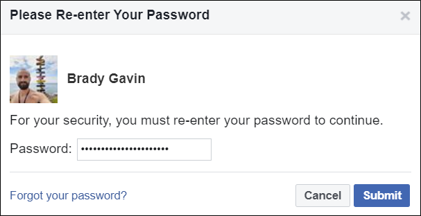 Re-enter your password when prompted.