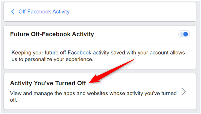 Click Activity you've turned off.