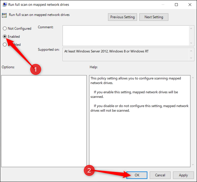 Enable the setting and click OK when finished.