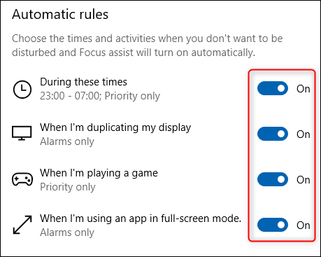 The Automatic rules section of Focus Assist.
