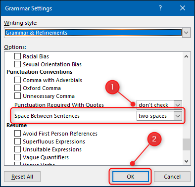 The Grammar Settings panel with the Space Between Sentences option highlighted.
