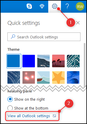 The Outlook web app's View all Outlook settings option.