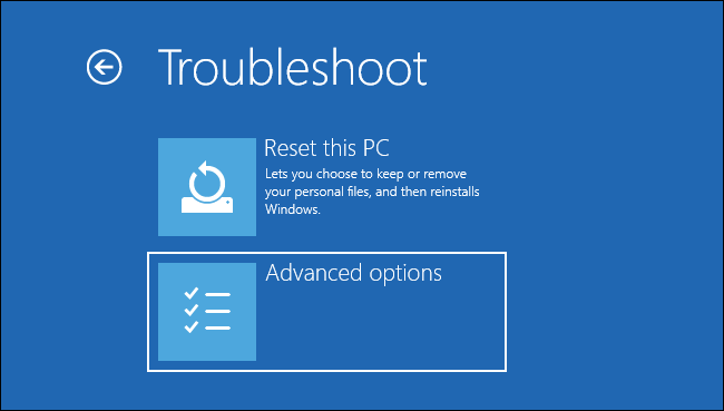 Selecting advanced options on the Troubleshoot screen