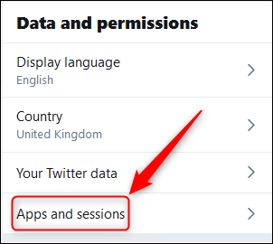 The Data and permissions menu with the Apps and sessions option highlighted.