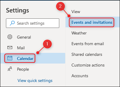 The Events and invitations menu option.