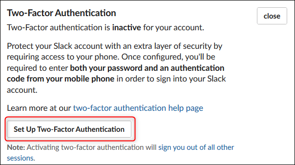 The Set Up Two-Factor Authentication button