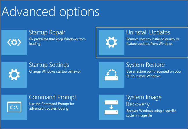 Selecting Uninstall Updates under Advanced options