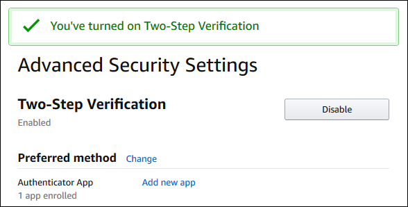 The Advanced Security Settings page
