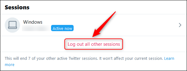 The Log out all other sessions option.