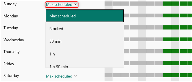 The Max Scheduled drop-down menu to set a time limit.