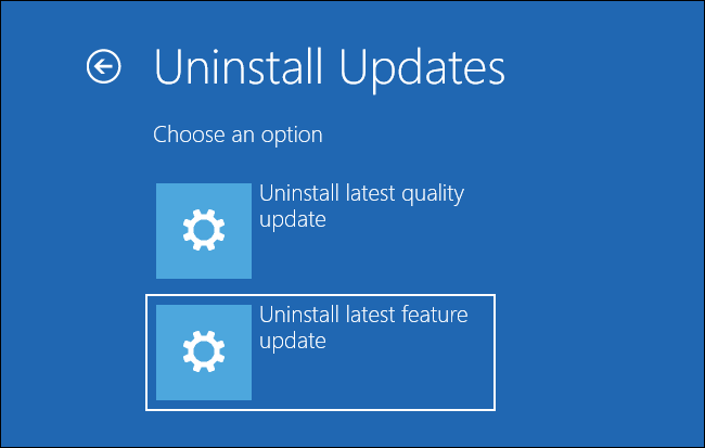 Selecting Uninstall latest feature update on the Uninstall Updates screen