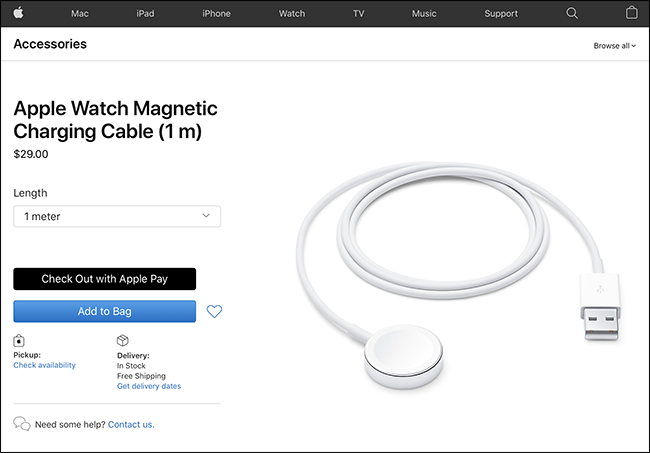 apple watch charging cable on apple website