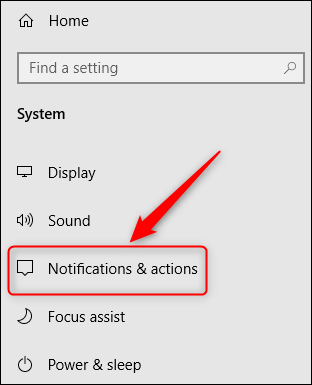 The Notifications & actions menu option.