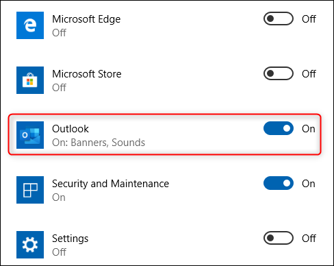 The Outlook app option.
