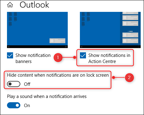 Two of the options in the Outlook notifications options.