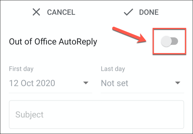 Tap the Vacation Responder or Out of Office AutoReply slider to enable it.