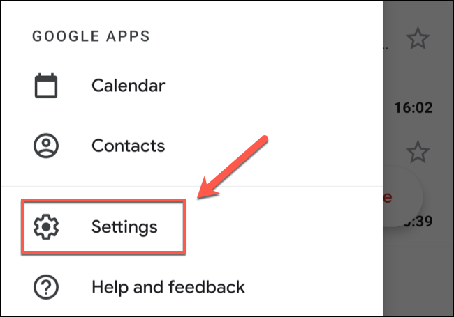 In the Gmail app menu, tap the Settings option.