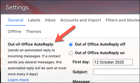 The Gmail Vacation Responder settings area, labelled Out of Office AutoReply in a UK Gmail account