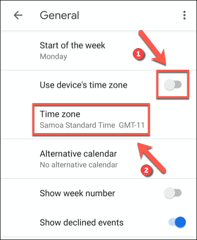 Tap the Use Device's Time Zone slider to the off position, then click the Time Zone option beneath.