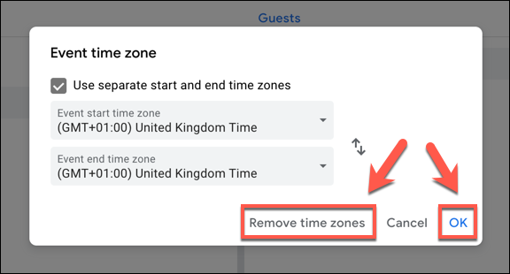 Click Remove Time Zones to remove time zones from a Google Calendar event, or OK to save them.