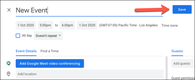 Click Save to save the new Google Calendar event with custom time zones.