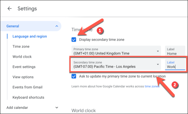 Click the Display Secondary Time Zone check box, then select a secondary time zone from the Secondary Time Zone drop-down menu before adding a label to the Label box beside it.