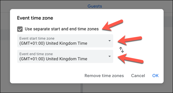 To add a secondary time zone, click the Use separate start and end time zones checkbox. Select a primary (or primary and secondary) time zone from the drop-down menus