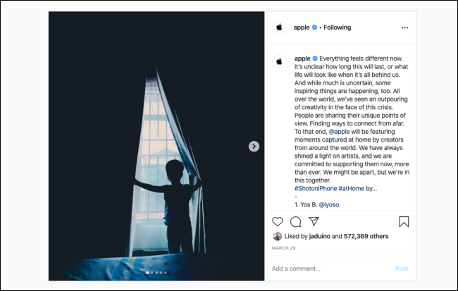 The Instagram photo on a desktop browser.