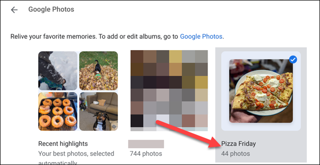 choose google photos albums