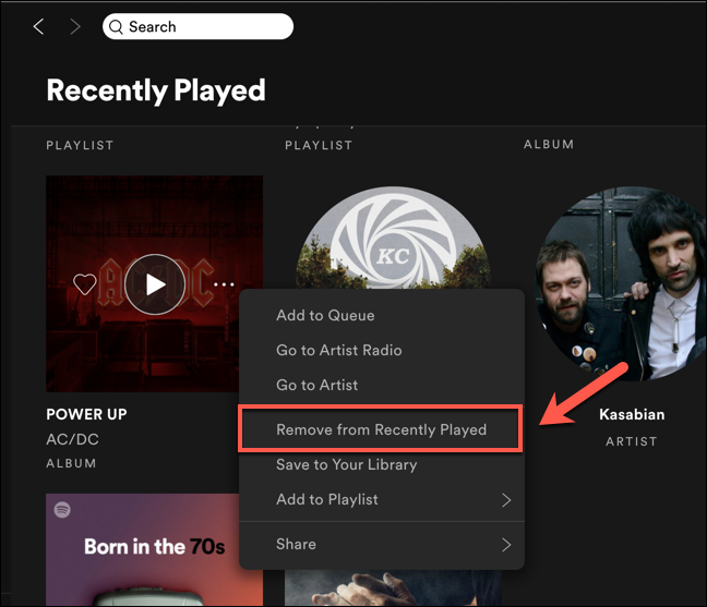 Press the Remove From Recently Played option to delete the entry from your Spotify Recently Played list.