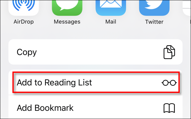 Tap Add to Reading List in Safari on iPhone
