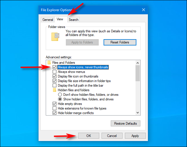 Check Always show icons instead of thumbnails in File Explorer Options on Windows 10