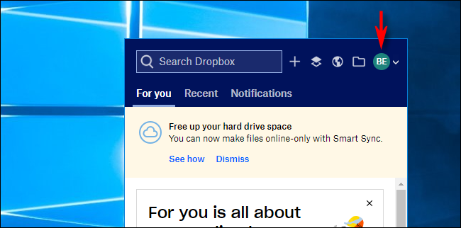 Click on Avatar in Dropbox on Windows 10