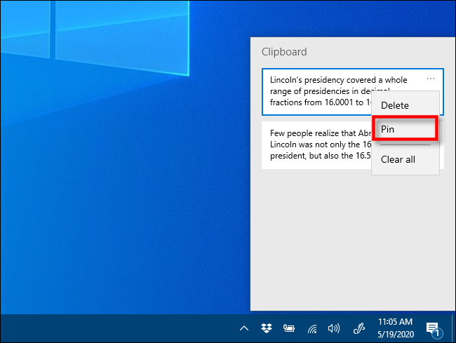 Click Pin in Clipboard history on Windows 10