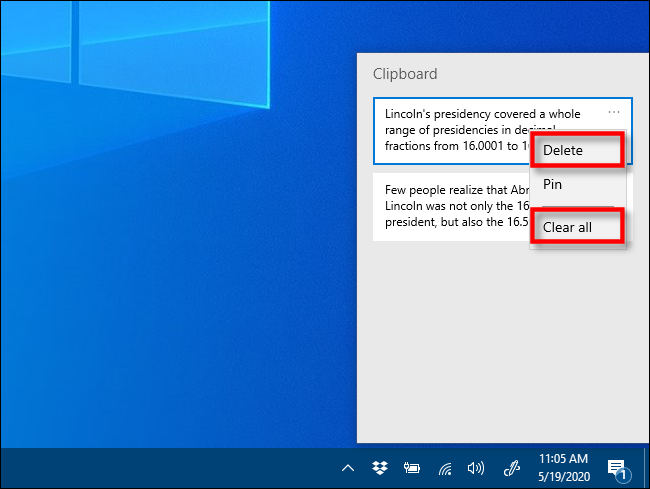 Click Delete or Clear all in Clipboard history to remove items on Windows 10