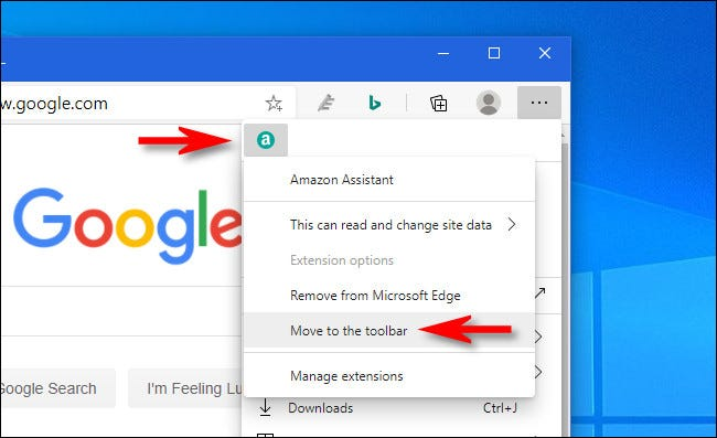 In Edge, right-click the extension icon and select Move to the toolbar.