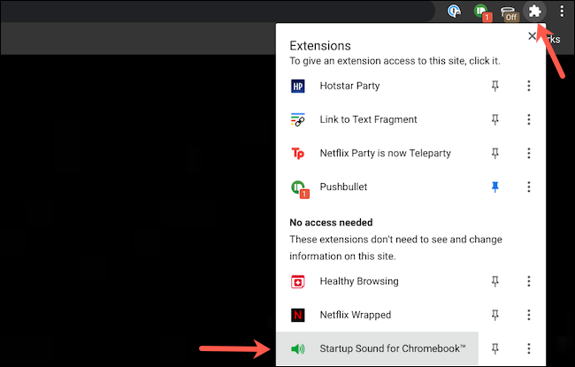 Open the extensions tray on Google Chrome
