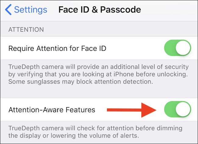 Toggle the Attention Aware Features switch to the ON position.