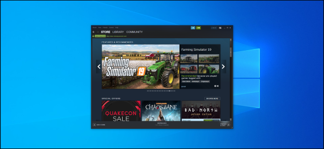 Steam window showing the store on a Windows 10 desktop