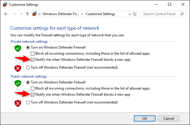 Uncheck the Notify me when Windows Defender Firewall blocks a new app option under both Private and Public Network Settings.