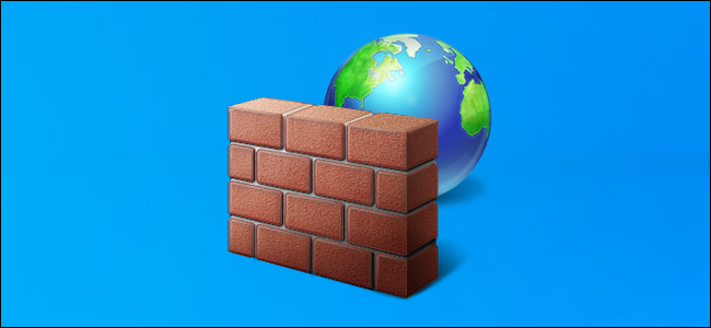 Windows Firewall icon on a Windows 10 desktop background.