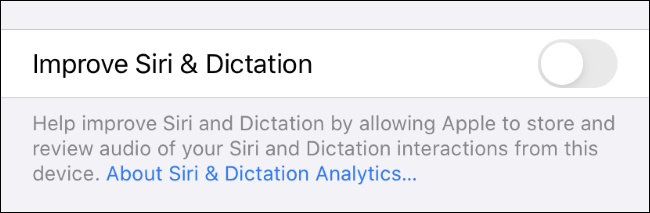 Disabling Siri history collection on an iPhone.