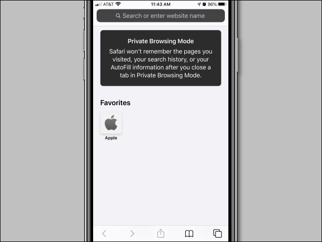 iPhone Private Browsing Mode window