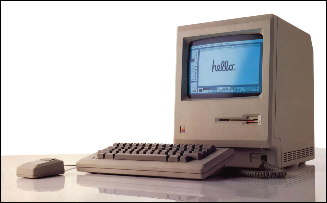 An original 1984 Macintosh with Hello on its screen.